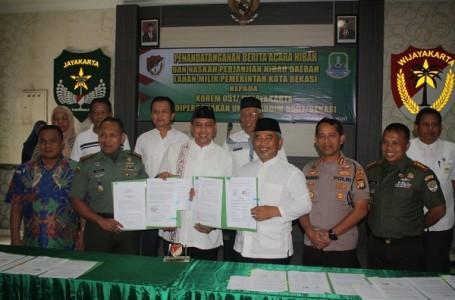 Danrem 051 Wijayakarta Terima Hibah Tanah dari Pemkot Bekasi